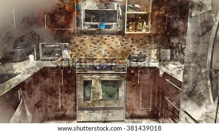 Beautiful Home Kitchen - Artistic Talent Display - Water Painting Effects