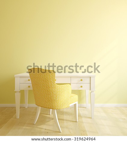Beautiful home office interior. 3d render. - stock photo