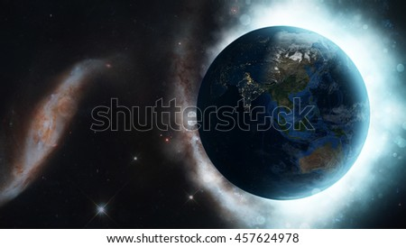 Beautiful Home: Planet Earth Beaming Radiant Light Through The Universe (Elements of this image furnished by NASA)