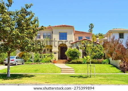 Beautiful homes and estates in the Santa Monica City, California. - stock photo