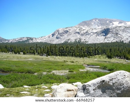 Beautiful Horizontal Valley and Mountain Scene in Yosemite National Park - stock photo