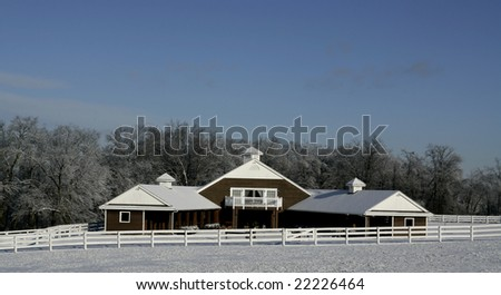 Beautiful Horse Farm Covered in Fresh Winter Snow