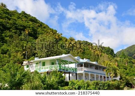 Beautiful hotel resort at hills of Santa Lucia, Carbbean - stock photo