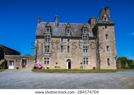 Beautiful house (chateau) in french Normandy, France, Europe - stock photo