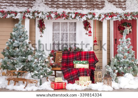 Beautiful House Decorated For Christmas And New Year - stock photo