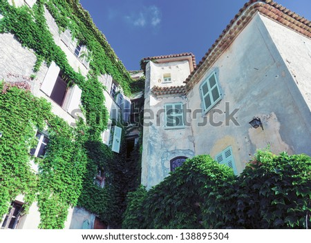 beautiful house facade in Eze village. France - stock photo