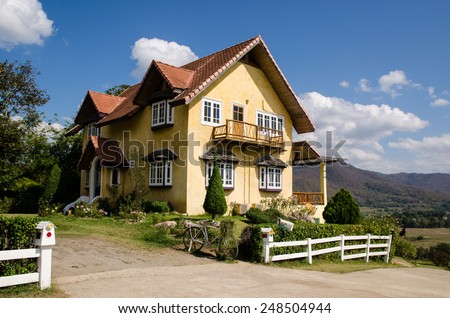 Beautiful House in Pai, Mae Hong Son, North of Thailand - stock photo