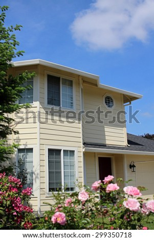 Beautiful House in Suburban Neighborhood - stock photo