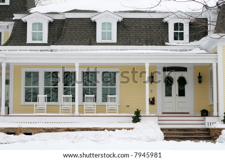 beautiful house in winter - stock photo