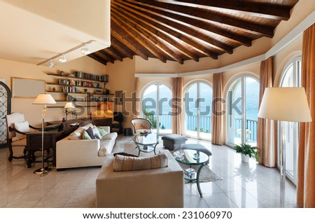beautiful house interior, comfortable living room in classic style - stock photo