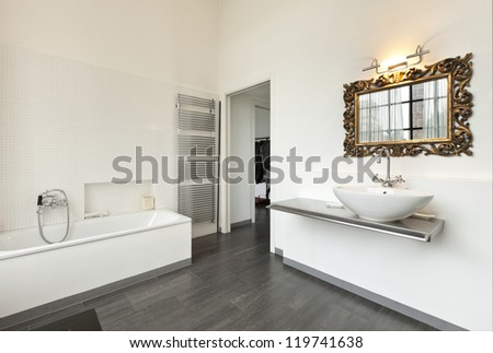 beautiful house, interior, view of the bathroom - stock photo
