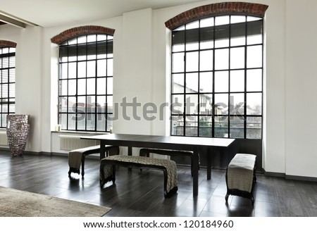 beautiful house, interior, view of the dining table - stock photo