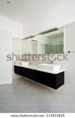 beautiful house, modern style, bathroom - stock photo