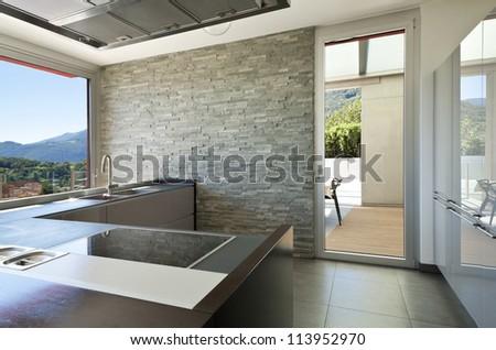 beautiful house, modern style, kitchen - stock photo