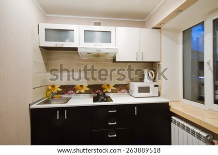 Beautiful house studio, interior, view of the kitchen