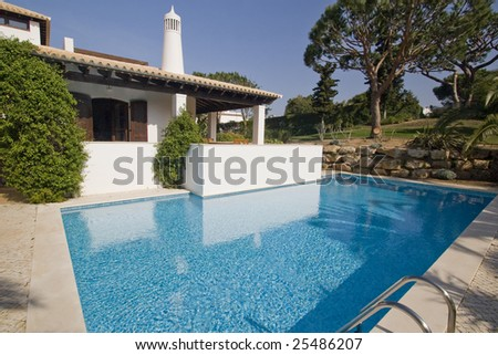 Beautiful house with a pool at Algarve, south of Portugal - stock photo
