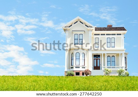 Beautiful house with the room for your text  - stock photo