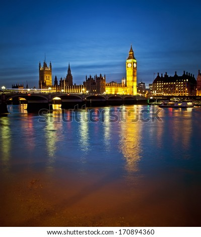 Beautiful Houses of Parliament over the river Thames - stock photo