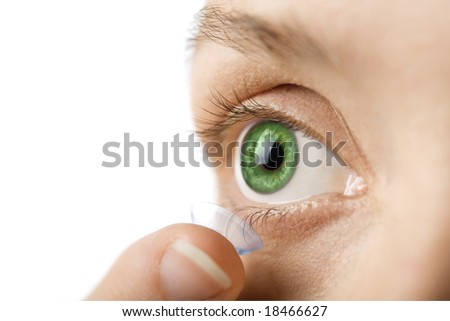 beautiful human eye and contact lens isolated - stock photo