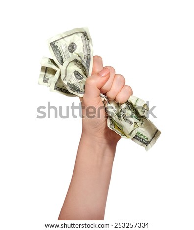 Beautiful human hand holds money