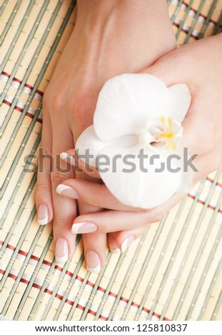 Beautiful human hand, spa