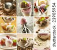 beautiful ice cream collage made from nine photographs - stock photo