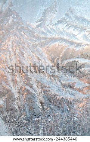 Beautiful ice floral pattern on glass, holiday seasonal background