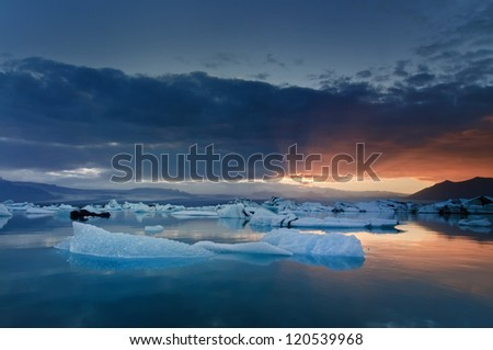 Beautiful icebergs drifting in Iceland