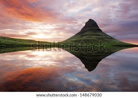 Beautiful Iceland mountain landscape - stock photo