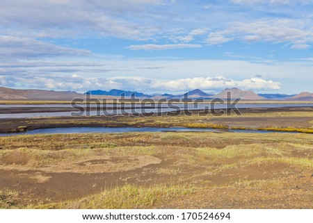 Beautiful Icelandic Volcanic Landscape with Blue Sky, rocks and mountains