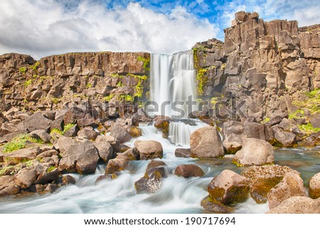 Beautiful Icelandic waterfall Oxararfoss. It is located on the West of the island in the Thingvellir national park - stock photo