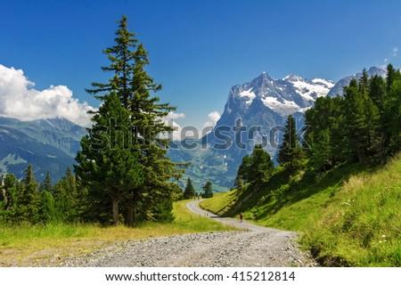 Beautiful idyllic Alps landscape and trail, mountains in summer, Switzerland  - stock photo