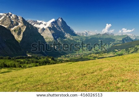 Beautiful idyllic Alps landscape with mountains in summer, Switzerland