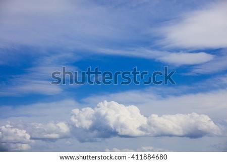 Beautiful idyllic skyscape with white clouds - stock photo