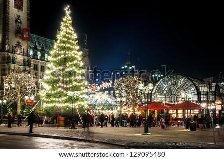 Beautiful illuminations in Hamburg at Christmas week. Weihnachtsmarkt - stock photo