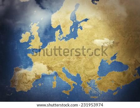 Beautiful Illustrated map - stock photo