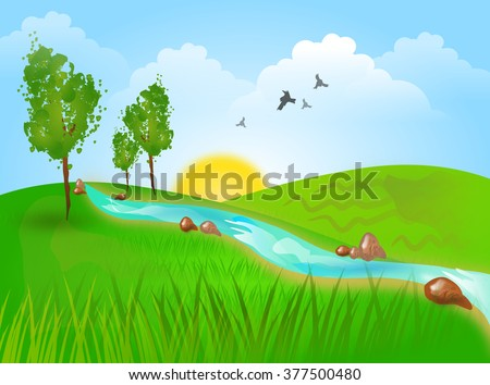Beautiful illustration of landscape with hills and river - stock photo