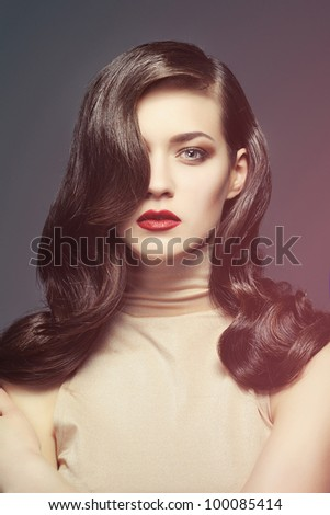 Beautiful image in studio on a gray background, bright in a fog. - stock photo