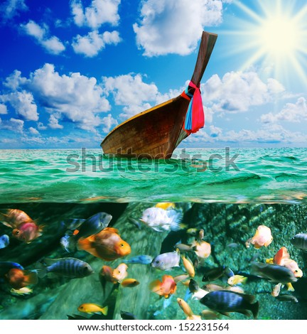 Beautiful image Longtail boat on the sea tropical beach. Andaman Sea, Thailand - stock photo