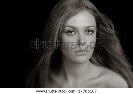 Beautiful Image of a Blond woman On Black Background