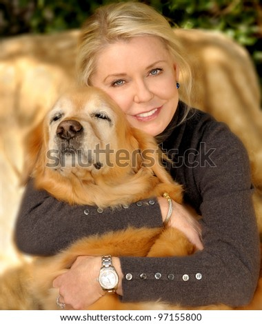 Beautiful Image of a woman with her best friend - stock photo