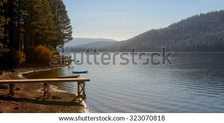 Beautiful Image Of Donner lake shoreline, late summer. - stock photo