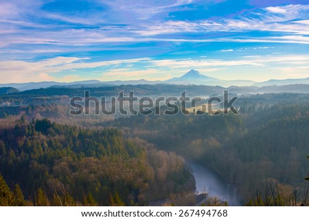 Beautiful Image of Mt. Hood taken during sunrise from Jonsrud view point in Sandy, Oregon, USA - stock photo
