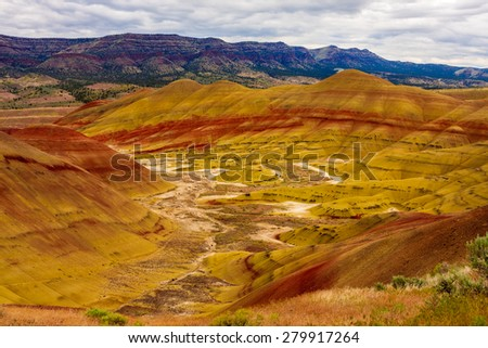 Beautiful Image of Painted Hills National Monument in Oregon, USA - stock photo