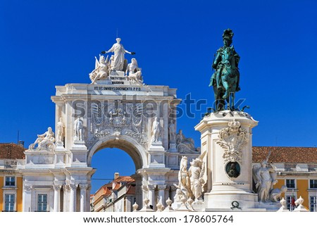 Beautiful image of the gate and statue of  King Jose on the Commerce square (Praca do Comercio) in Lisbon, Portugal - stock photo