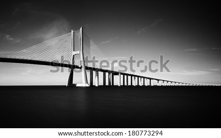 Beautiful image of the Vasco da Gama bridge in Lisbon, Portugal - stock photo