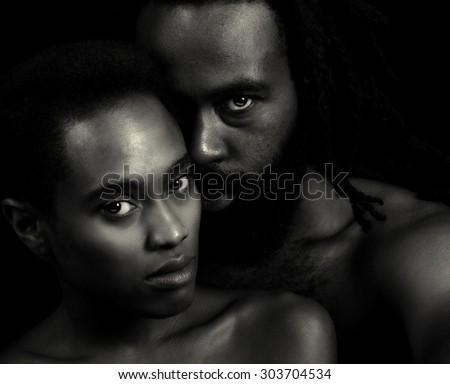 Beautiful Image of two Lovers on Black - stock photo