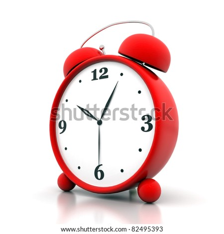 beautiful image, the red alarm clock on white background