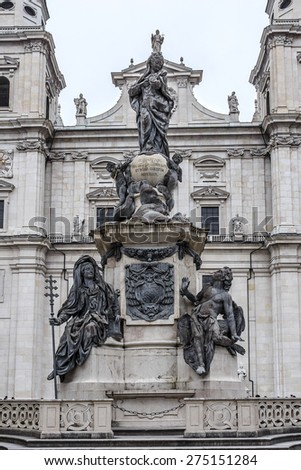 Beautiful Immaculate Column (Virgin Mary) sculpted by Wolfgang and Johann Baptist Hagenauer for Archbishop Sigismund Graf Schrattenbach is located in the center of Cathedral square. Salzburg, Austria. - stock photo