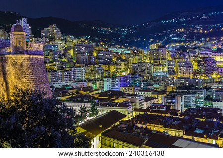 Beautiful in the evening Monte Carlo, Monaco. - stock photo